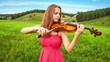 Violinist Plays on a Green Meadow