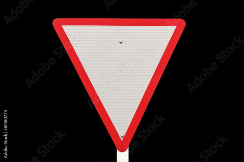 yield traffic sign on black  background