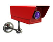 Red surveillance camera