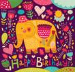 Cartoon vector illustration with elephant