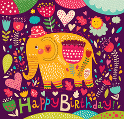 Cartoon vector illustration with elephant
