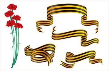 Военные ленты и гвоздики