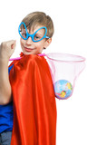 Beautiful funny little superhero saving the planet