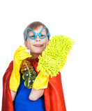 Beautiful cheerful child superhero cleaning with a sponge