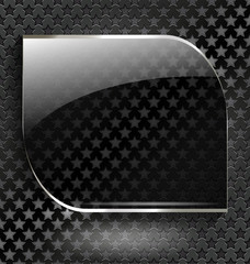 Abstract black background with glass element-frame