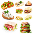 Tasty sandwiches isolated on white