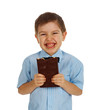 Smiling kid eating chocolate