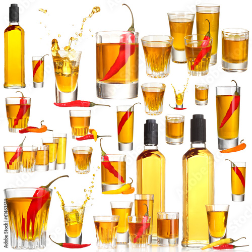 Collage of alcohol drinks. Pepper vodka isolated on white