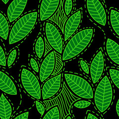 Fresh green leaves on black seamless pattern, vector