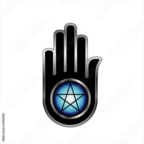 Hand with a Pentacle- Logo to symbolize satanism or mind control