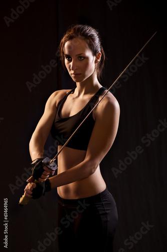 Poster Young Woman Holding Samurai Sword.