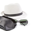 Sunglasses and white hat