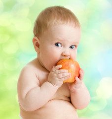 Kid eating fruit, healthy food
