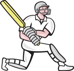 Cricket Player Batsman Batting Kneel Cartoon