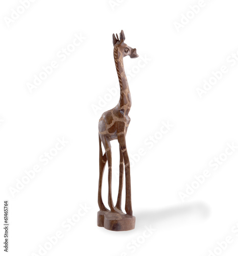 Wood toy giraffe isolated