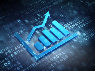 Business concept: Blue Growth Graph on digital background