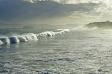 Waves in the bay of Santander Spain