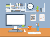 Interior office room.Flat design style