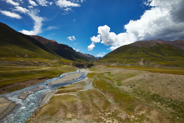 River and mountain landscape in Tibet
