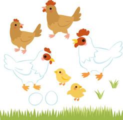 鶏とヒヨコ