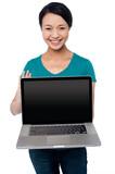 Salesgirl presenting brand new laptop for sale