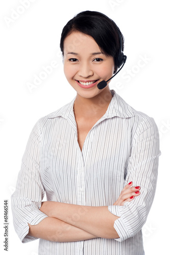 Young female call centre executive