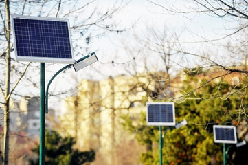 Photovoltaic public lighting in a park