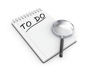 To do list. Notepad with magnify glass