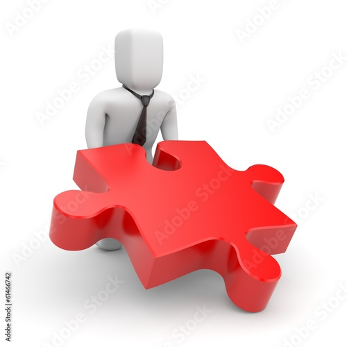Person push puzzle piece