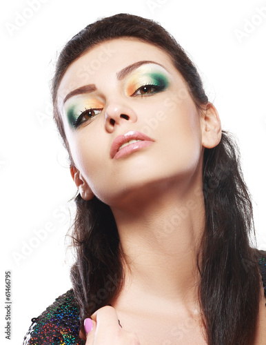 model with bright make up