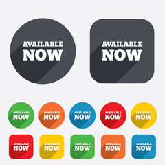 Available now icon. Shopping button.