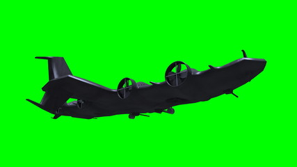 Futuristic submarine before green screen