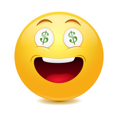 Dollar emoticon  on a white background.