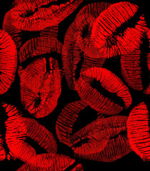 red and black lips imprints seamless background