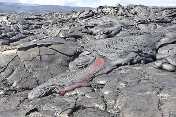 Flowing lava from Kilauea volcano, Hawaii. April, 2012.