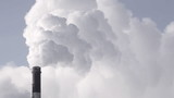 Heavy industry. Industrial smokestack pollute atmosphere.