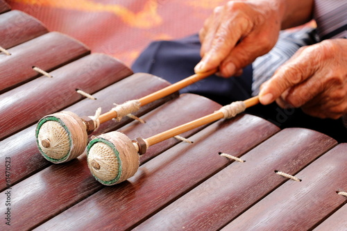 Traditional Thai xylophone playing