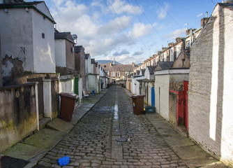cobbled street of terraced houses
