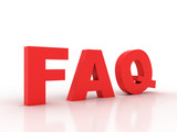 FAQ 3d on white background