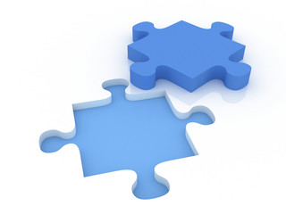 3d render Jigsaw puzzle with blank white pieces and missing blue