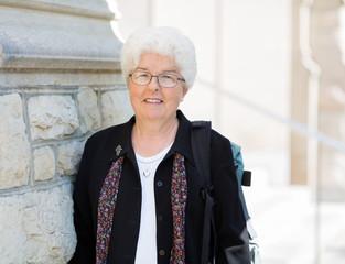 Portrait Of Smiling Professor Student
