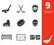 Vector black hockey icons set - 61472120