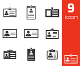 Vector black id card icons set