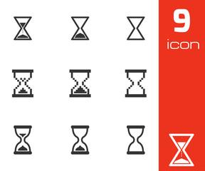 Vector black hourglass icons set