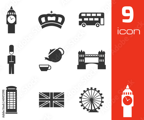 Vector black london icons set
