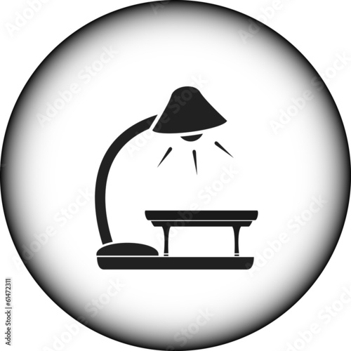 icon with floor lamp and table