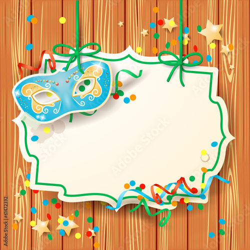 Carnival background with mask and label