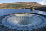 Overflowing Ladybower reservior in UK.