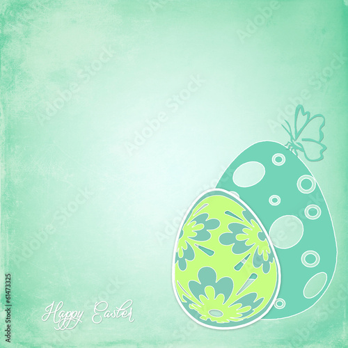 Easter card colored eggs and place for writing