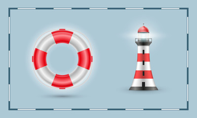Life buoy and lighthouse